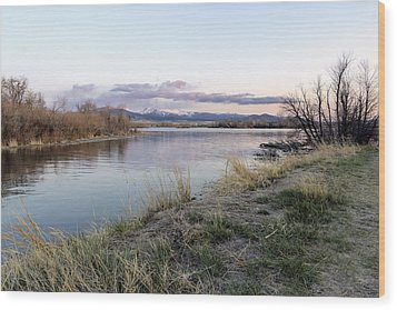 Reflections At Sunset At The Helena Reservoir Wood Print by Dana Moyer