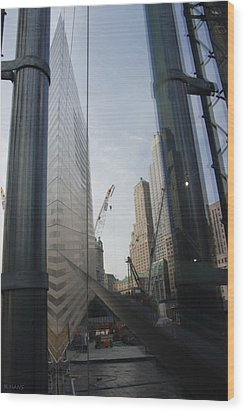 Reflections At The 9/11 Museum Wood Print by Rob Hans