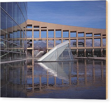 Reflections At The Library Wood Print by Rona Black