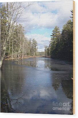 Reflections Caught On Ice At A Pretty Lake In New Hampshire Wood Print