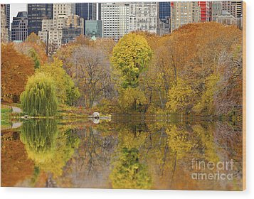 Reflections In Central Park New York City Wood Print by Sabine Jacobs