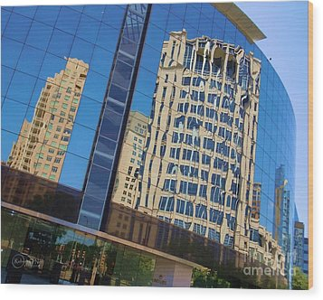 Wood Print featuring the photograph Reflections In The Rolex Bldg. by Robert ONeil