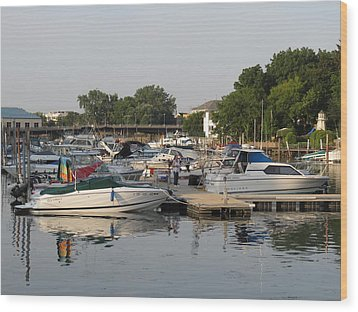 Reflections In The Small Boat Harbor Wood Print by Kay Novy