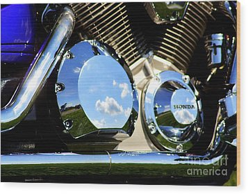 Reflections In The V Twin Wood Print by Patti Whitten
