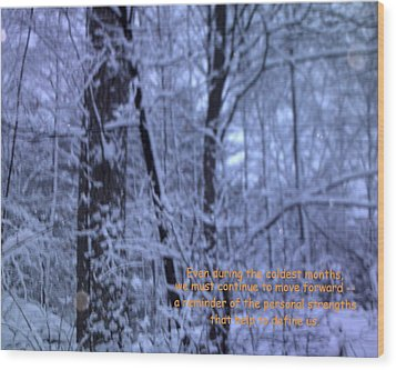 Reflections In Winter Wood Print by John Lavernoich