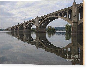 Reflections Of A Bridge Wood Print