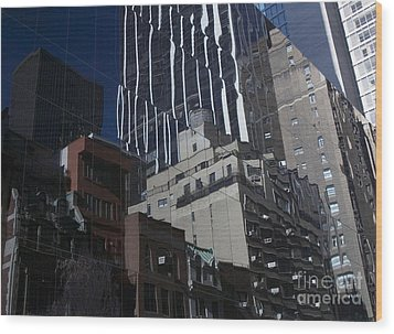 Reflections Of A City Wood Print by Karol Livote