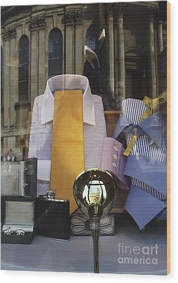 Wood Print featuring the photograph Reflections Of A Gentleman's Tailor by Terri Waters