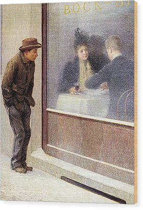 Reflections Of A Hungry Man Or Social Contrasts Wood Print by Emilio Longoni