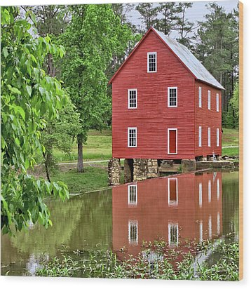 Reflections Of A Retired Grist Mill - Square Wood Print