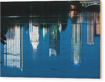 Reflections Of Austin Skyline In Lady Bird Lake At Night Wood Print by Jeff Kauffman