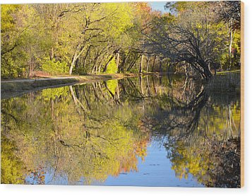 Reflections Of Autumn Wood Print by Kathi Isserman