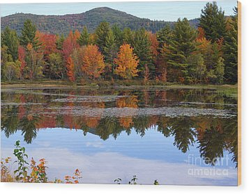 Reflections Of Fall Wood Print by Kerri Mortenson