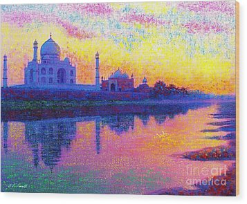 Taj Mahal, Reflections Of India Wood Print by Jane Small