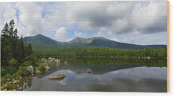 Reflections Of Katahdin At Sandy Stream Pond Wood Print