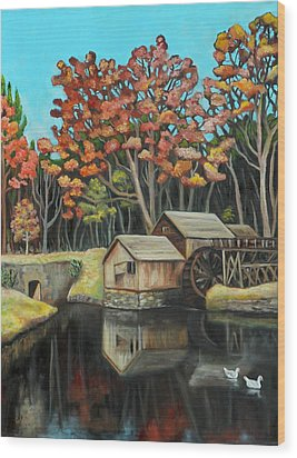 Reflections Of Mabry Mill Wood Print by Eve  Wheeler