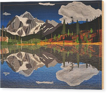 Wood Print featuring the tapestry - textile Reflections Of Mt.shuksan by Jo Baner