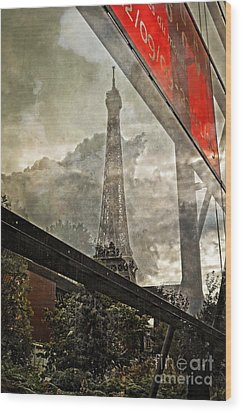 Reflections Of Paris Wood Print by Mary Machare
