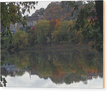 Reflections Of Pittston Wood Print