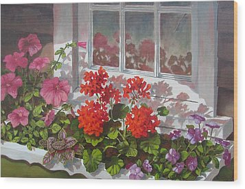 Wood Print featuring the painting Reflections Of Summer by Tony Caviston