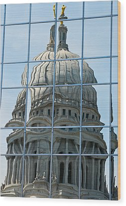 Reflections Of The Capitol Wood Print by Christi Kraft
