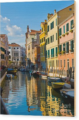 Reflections Of Venice II Wood Print by Sheila Laurens