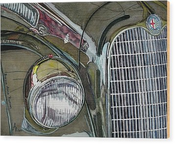 Wood Print featuring the painting Reflections On 1931 Alfa Romeo Milano by Anna Ruzsan