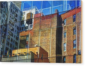 Reflections On 9th Street Wood Print