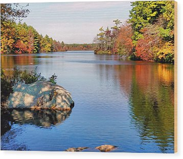 Reflections On A Fall Day Wood Print by Janice Drew