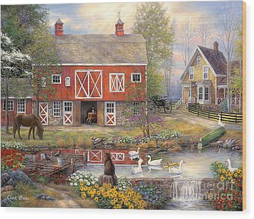 Reflections On Country Living Wood Print by Chuck Pinson