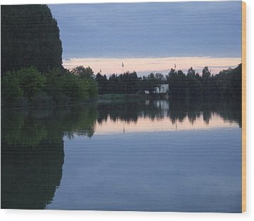 Reflections On La Saone Wood Print