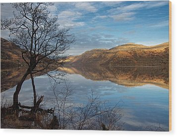 Reflections On Loch Lomond Wood Print