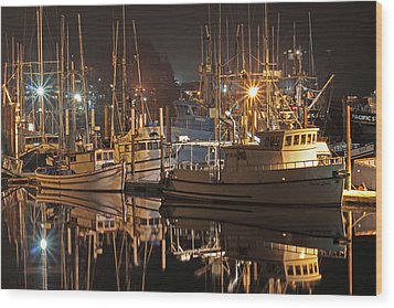 Reflections On The Bay Wood Print by Kim Mobley