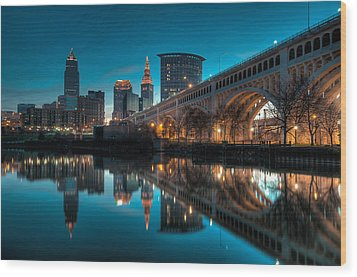 Reflections On The Cuyahoga Wood Print by At Lands End Photography
