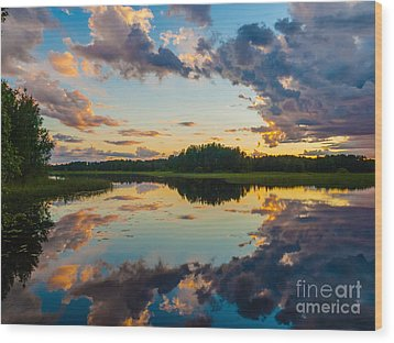 Reflections On The Water Wood Print