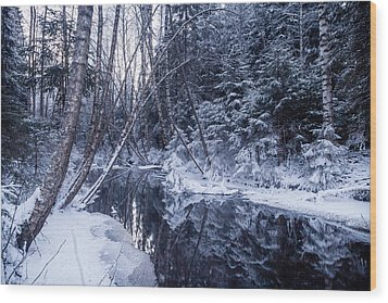 Reflections On Wintry River Wood Print