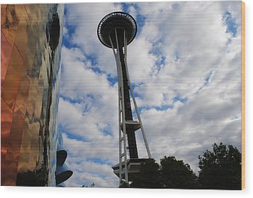 Reflections Space Needle  Wood Print
