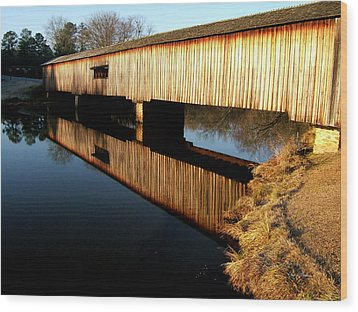 Wood Print featuring the photograph Reflections  Watson Mill Bridge by George Bostian