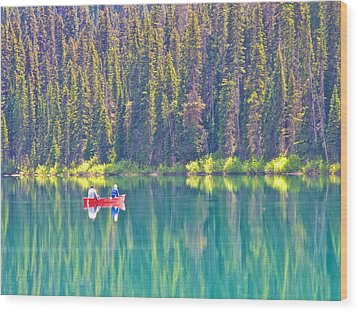 Reflective Fishing On Emerald Lake In Yoho National Park-british Columbia-canada  Wood Print