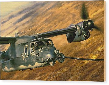 Wood Print featuring the painting Refueling by Dave Luebbert