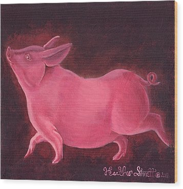 Regal Hog Wood Print by Heather Stinnett