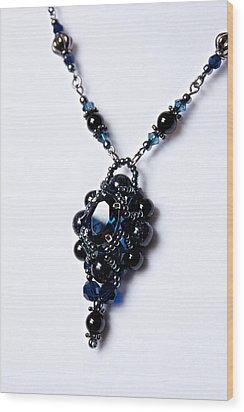 Regal Sapphire Pendant Necklace And Matching Earrings Set Wood Print by WDM Gallery
