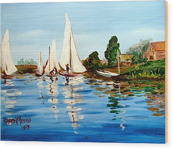 Regatta De Argenteuil Wood Print by Karon Melillo DeVega