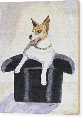 Wood Print featuring the painting Reggie In A Top Hat  by Angela Davies
