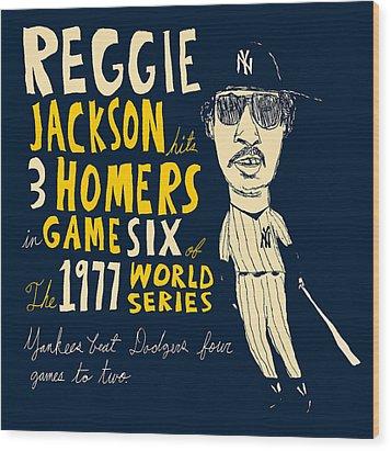 Reggie Jackson New York Yankees Wood Print by Jay Perkins