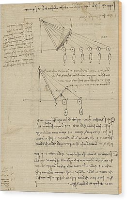 Register Of Milan Cathedral Weight And Study Of Relationship Between Position Of Beam Wood Print by Leonardo Da Vinci