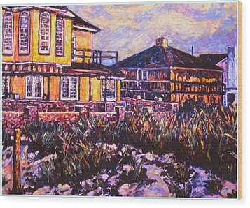 Rehoboth Beach Houses Wood Print by Kendall Kessler