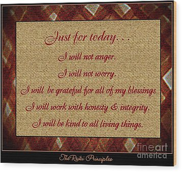 Reiki Principles Wood Print