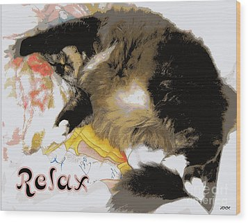 Relax Cat Wood Print by Heidi Manly