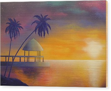 Relax Wood Print by Ismael Paint